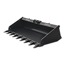 Attachment tools for Skid Steer Loaders and Compact track Loaders - General Purpose Low Profile Bucket with Teeth